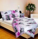 Porovnání ceny Povlečení KAROLINE 034 mourované kočičky na růžové, krep, 140x200cm + 70x90cm