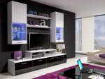 Porovnání ceny Smartshop Obývací stěna MINI II s LED osvětlením, bílá/bílý lesk + černý lesk