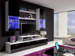 Porovnání ceny Smartshop Obývací stěna MINI II s LED osvětlením, bílá/černý lesk