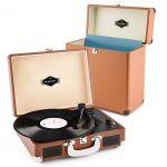 Porovnání ceny Auna Peggy Sue Record Collector, hnědá, gramofonová sada, retro gramofon + kufr na desky (PL-27040-30821)