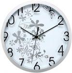 Porovnání ceny nástěnné hodiny s květinovým motivem, O 30 cm, bílo-stříbrné