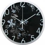 Porovnání ceny nástěnné hodiny s kvetinovým motivem, O 30 cm, černo-stříbrné