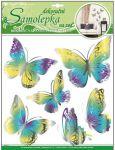 Porovnání ceny Anděl Přerov Samolepka Room Decor motýli žlutomodří s pohyblivými stříbrnými křídly 30x30cm