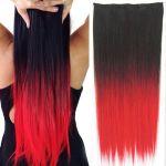 Porovnat ceny Clip in vlasy - 60 cm dlhý pás vlasov - ombre štýl (odtieň Black T Red) - Světové Zboží