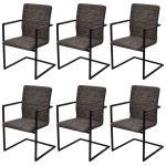 Porovnat ceny 272414 vidaXL 6 konzolových jedálenských stoličiek s opierkami na ruky hnedé