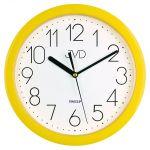 Porovnání ceny Moderní žluté dětské nástěnné netikající tiché hodiny JVD sweep HP612.12