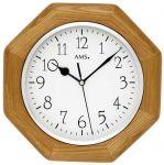 Porovnání ceny Nástěnné hodiny dřevěné ams 5512 hranaté v barvě dub, rádiem řízené