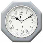 Porovnání ceny Nástěnné hodiny dřevěné ams 5511 hranaté v barvě stříbrná, rádiem řízené