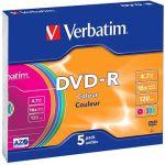 Porovnat ceny Verbatim DVD-R 16x, COLOURS 5 ks v SLIM krabičke (43557)