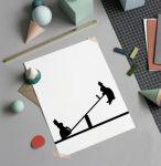 Porovnání ceny HAM Sítotisk s králíky na houpačce Seesawing Rabbit 30 x 40 cm, černá barva, papír