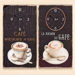 Porovnání ceny ostatní Skleněné nástěnné hodiny s motivem kávy a francouzskými nápisy