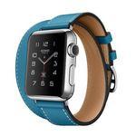 Porovnání ceny Apple Watch HERMÉS Bleu Jean Leather / 38mm / Double Tour / Retina / Sapphire / stříbrné tělo / modrý kožený pásek (MLC12)