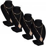 Porovnání ceny 240905 vidaXL Flanelový stojan na náhrdelníky a řetízky černý, 9 x 8,5 15 cm, 4 ks
