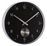 Porovnání ceny Černo - stříbrné kovové módní nástěnné hodiny JVD H68.2
