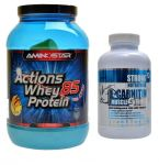 Porovnání ceny Aminostar Whey protein Actions 85% 2000 g + Strongnutritions L-Carnitin 90 tablet jahoda