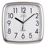 Porovnání ceny Šedé hranaté plastové nástěnné netikající tiché hodiny JVD sweep HP615.2