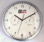 Porovnání ceny Stříbrné plastové nástěnné hodiny s teploměrem a vlhkoměrem BUD-IN C1705