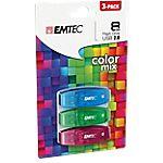 Comparaison de prix Pack 3 Clés USB EMTEC Color Mix 8 - 8 Go Bleu vert rose