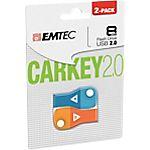 Comparaison de prix Clé USB EMTEC CARKEY D300 8 - 8 Go Bleu et Orange - 2 / Paquet